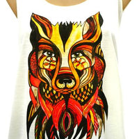 Singlet, Top, Printed, Light Cotton, Wolf, Wolf Head, Autumn Wolf, Tank Top,