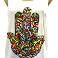 Singlet, Top, Printed, Light Cotton, Hamsa, Hamsa Hand, Hand of Fatima, Fatima, Evil Eye, Mandala