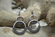 Earring Metal Dbl Circle W/Knots B