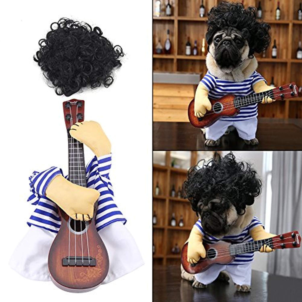 Funny Dog Cat Costume Guitar Puppy Dress Halloween Party with Wig