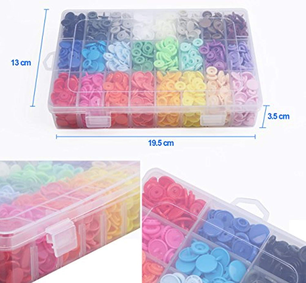 408 Sets Plastic Snap Buttons, No-Sew T5 Snaps with Organizer Storage Case