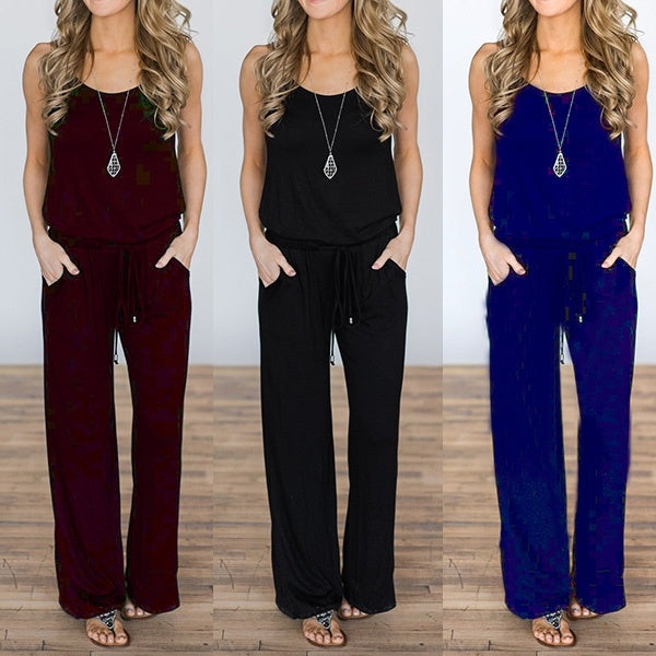 Women Casual Summer Sleeveless Solid Color Wide Leg Jumpsuit Slim Fit Cotton Long Pants Loose Overalls Playsuits