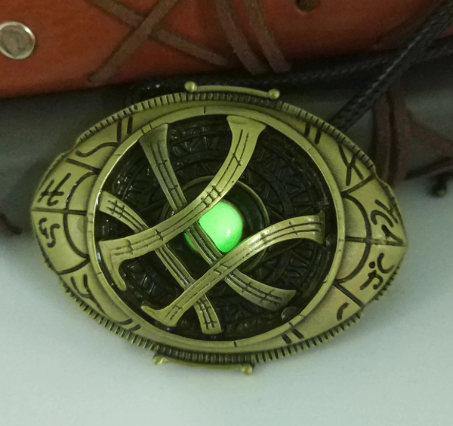 Dr.Strange Eye of Agamotto Necklace with Glow in the Dark Stone!