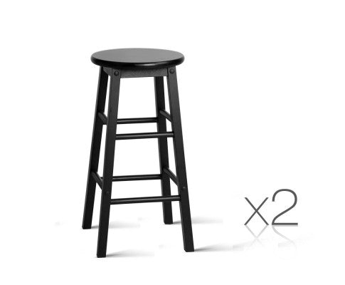 Set of 2 Beech Wood Backless Bar Stools - Black