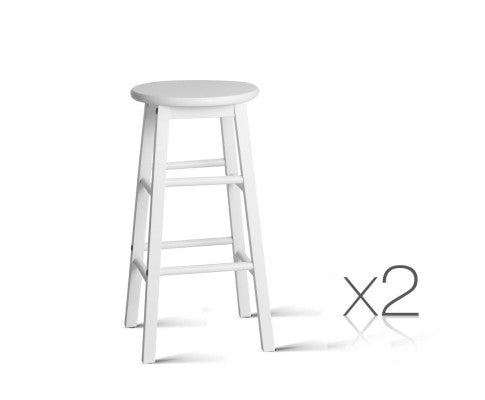 Set of 2 Beech Wood Backless Bar Stools - White