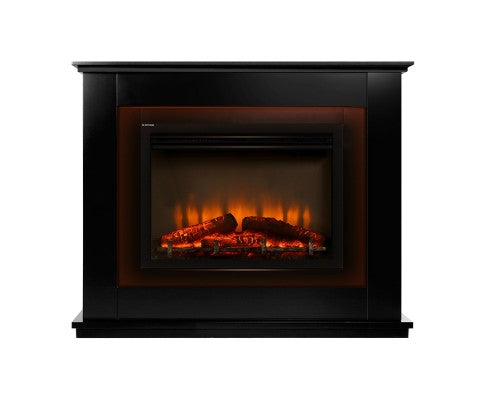 2000W Electric Fireplace Mantle Portable Fire Log 3D Flame Effect Black