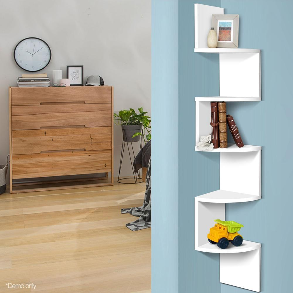 Artiss 5 Tier Corner Wall Shelf - White