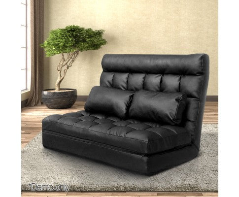 Artiss Double Size Adjustable Lounge Sofa - Black