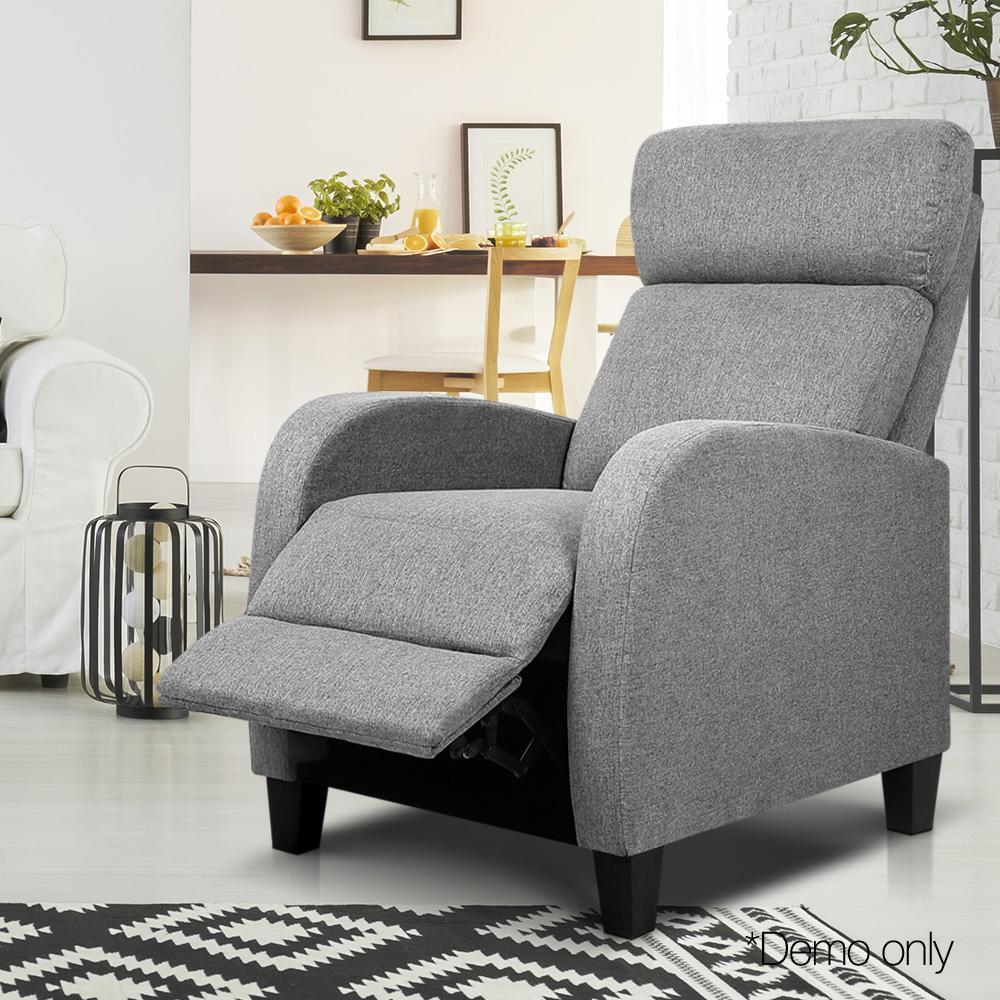 Fabric Reclining Armchair - Grey