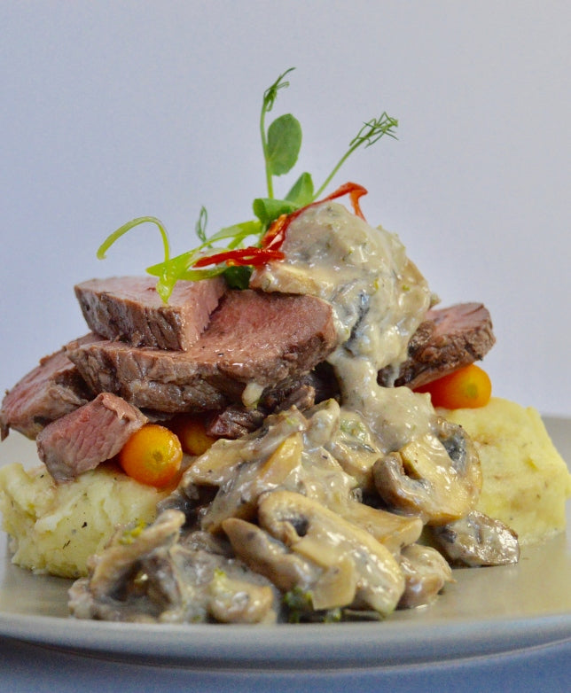 Get Fit Aged Beef Rump with Garlic Mash and Mushroom Sauce - Muscle Fuel