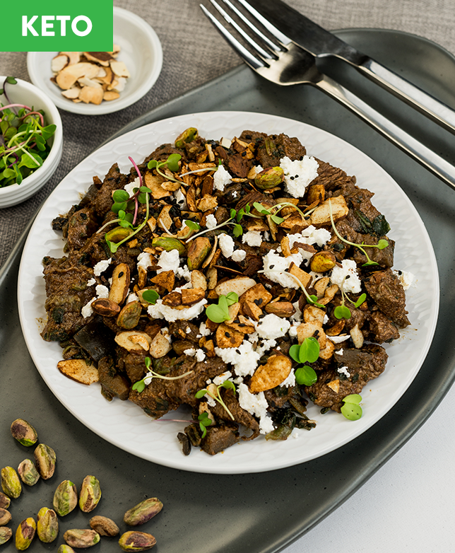 Keto Moroccan Beef with Feta & Almonds