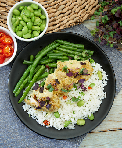 Coconut chicken with Green beans and Edamebean rice - Muscle Fuel