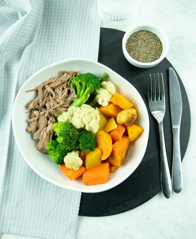 Pulled Lamb with Roast vegetable medley