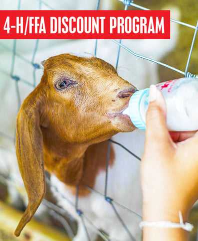 A picture of a baby goat drinking from a bottle. Text on the image reads, 4h ffa discount program.