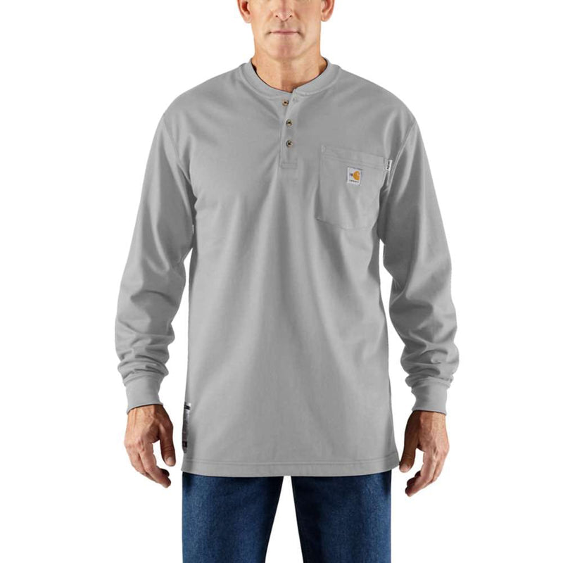 Medium Regular Carhartt FR Force Henley Cotton Long-Sleeve Light Gray