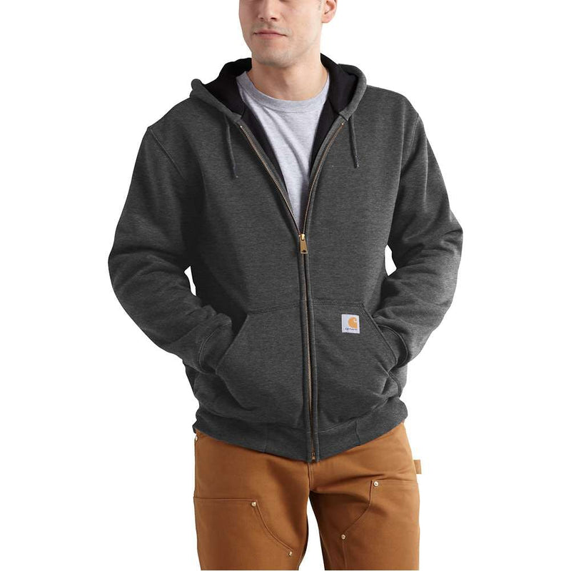 Large Regular Thermal-Lined Hooded Zip-Front Sweatshirt Carbon Heather
