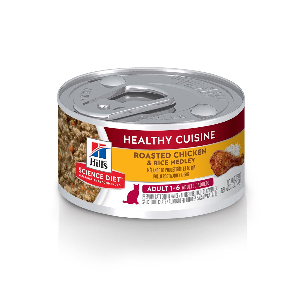 Science Diet Adult Cat Healthy Cuisine Roasted Chicken and Rice Medley Canned Food 2.8oz, 24pk