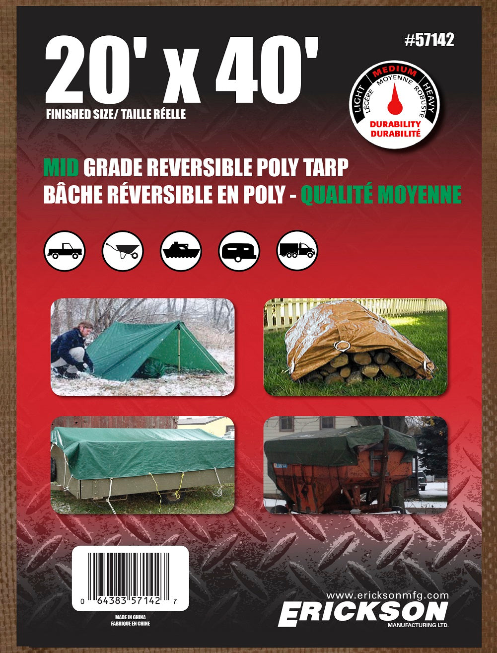 20 x 40 Medium-Duty Poly Tarp Brown/Green