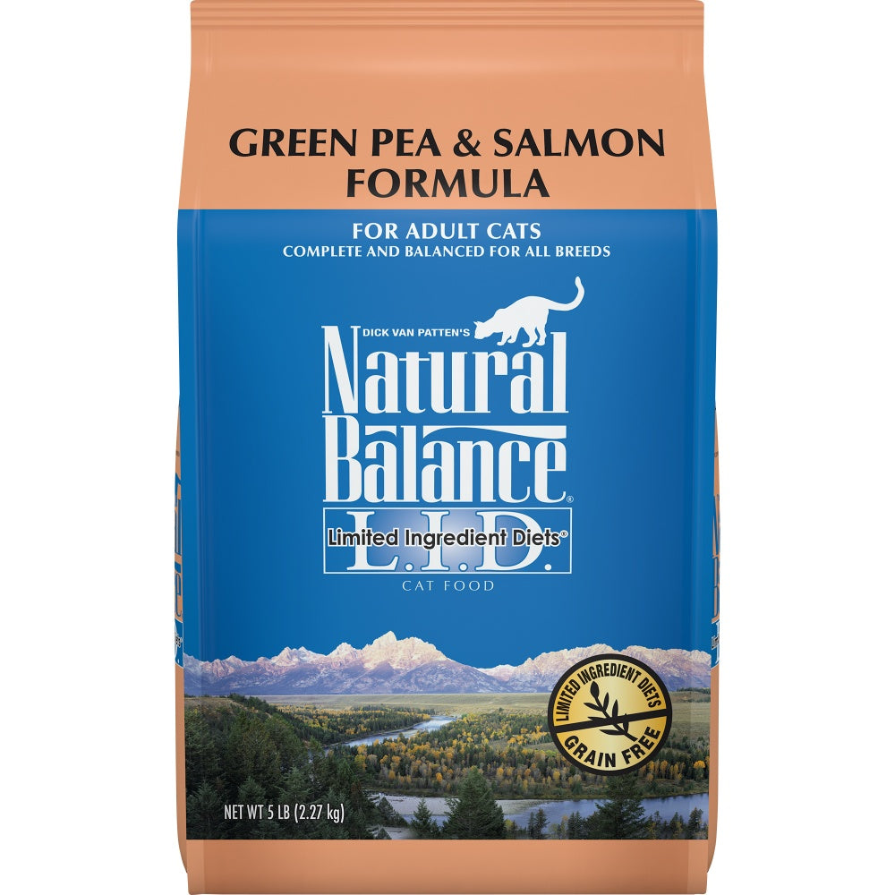 Natural Balance L.I.D. Limited Ingredient Diets Green Pea and Salmon Dry Cat Food 5-lb