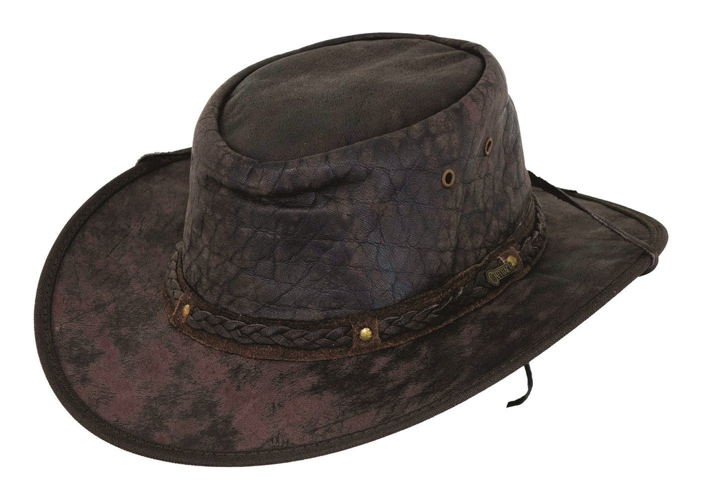 Small Iron Bark Leather Hat Chocolate