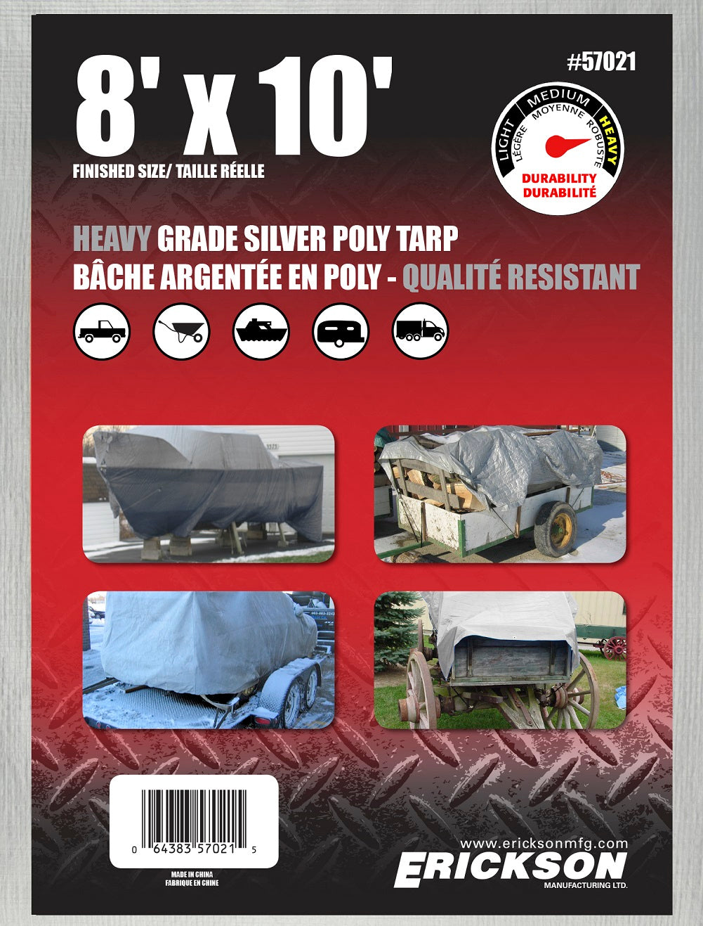 8 x 10 Heavy-Duty Poly Tarp Silver