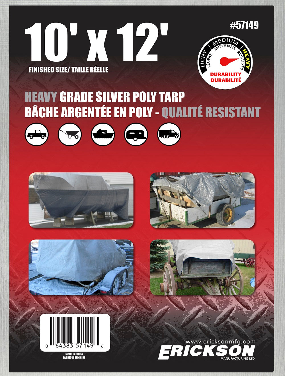 10 x 12 Heavy-Duty Poly Tarp Silver