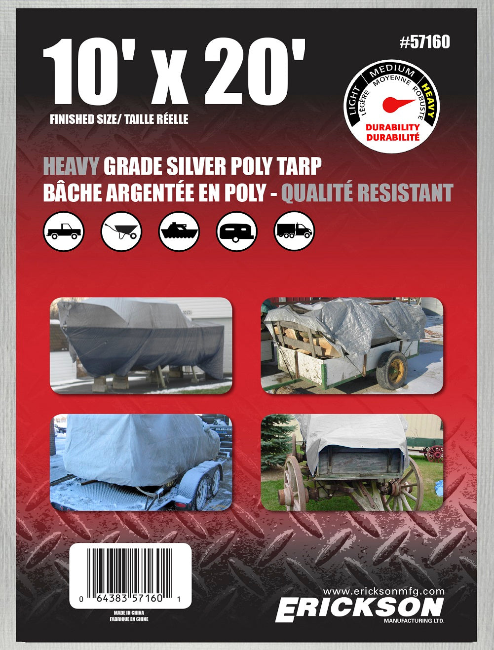 10 x 20 Heavy-Duty Poly Tarp Silver