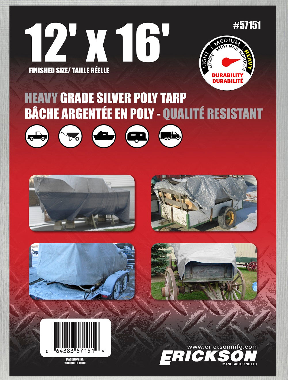 12 x 16 Heavy-Duty Poly Tarp Silver