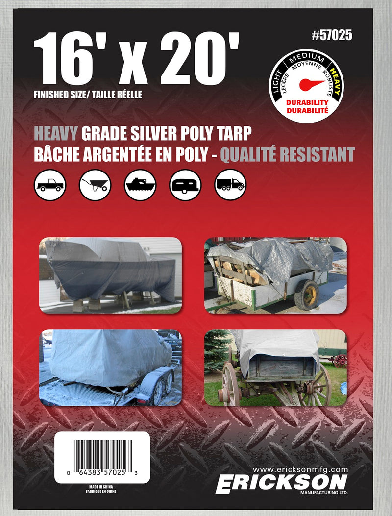 16 x 20 Heavy-Duty Poly Tarp Silver