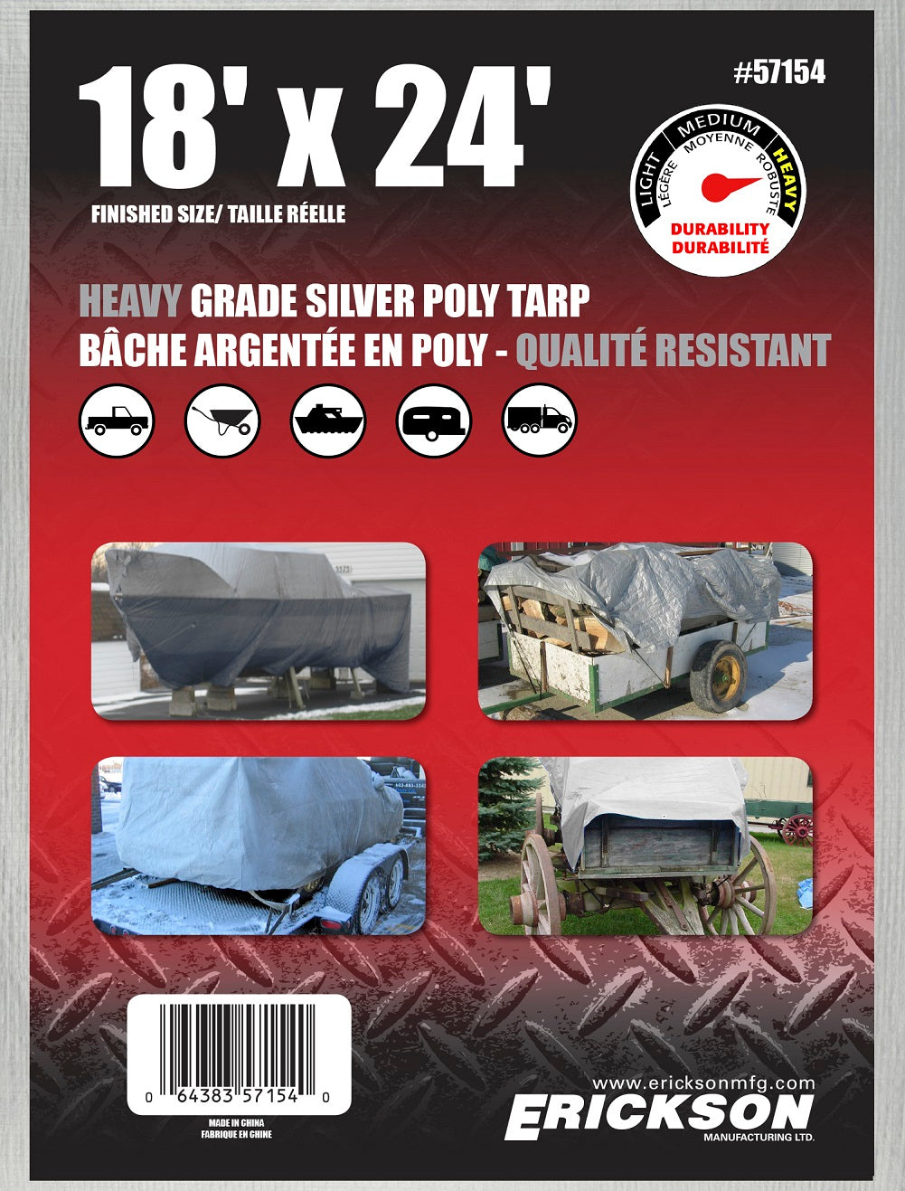 18 x 24 Heavy-Duty Poly Tarp Silver
