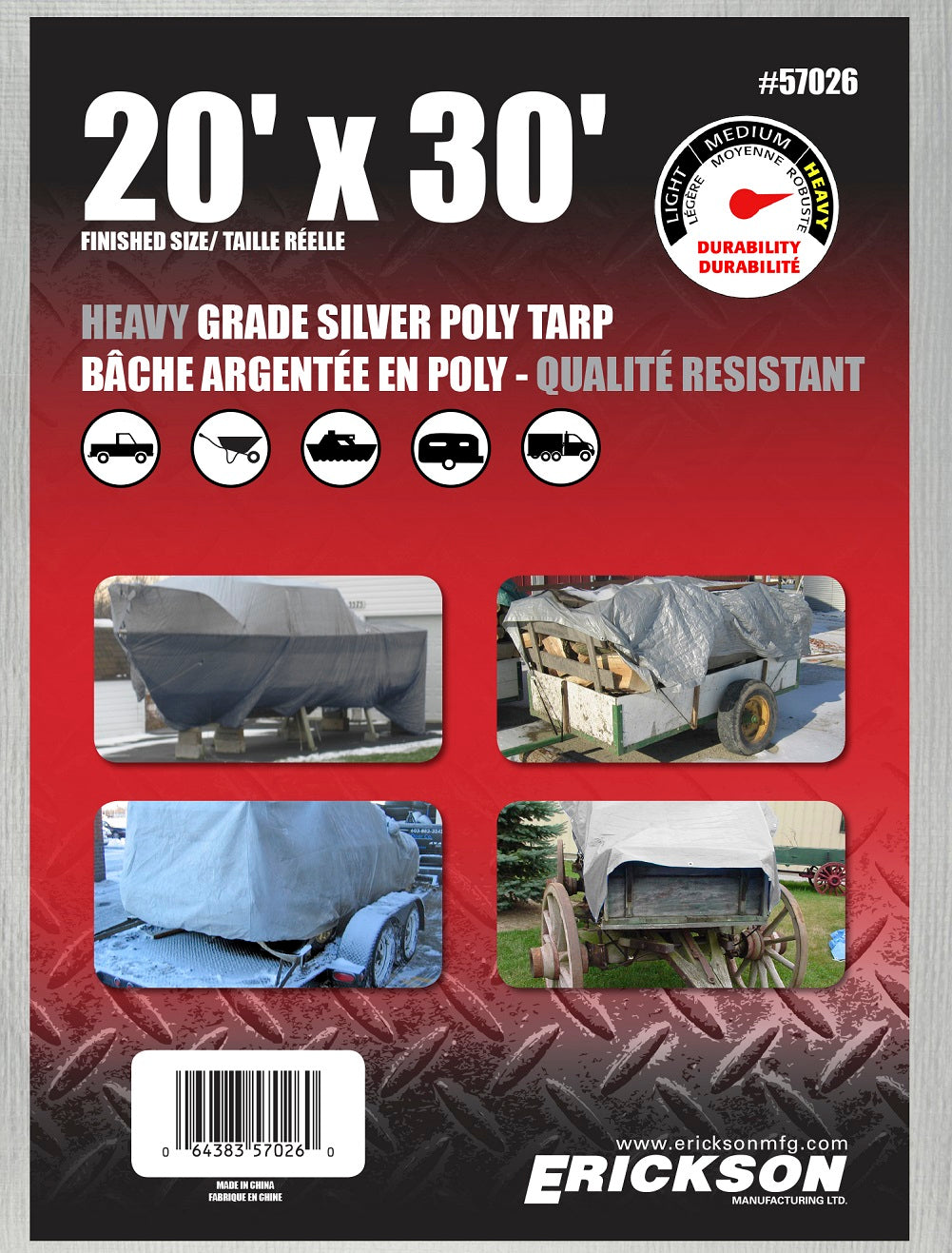 20 x 30 Heavy-Duty Poly Tarp Silver