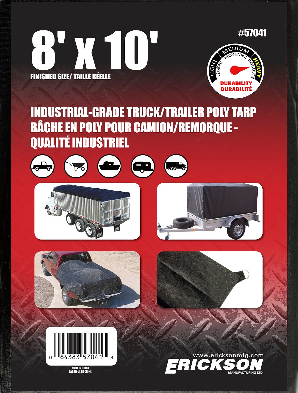 8 x 10 Industrial Grade Poly Tarp Black