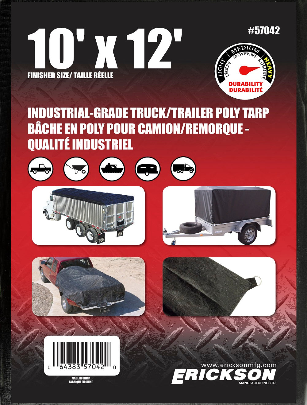 10 x 12 Industrial Grade Poly Tarp Black