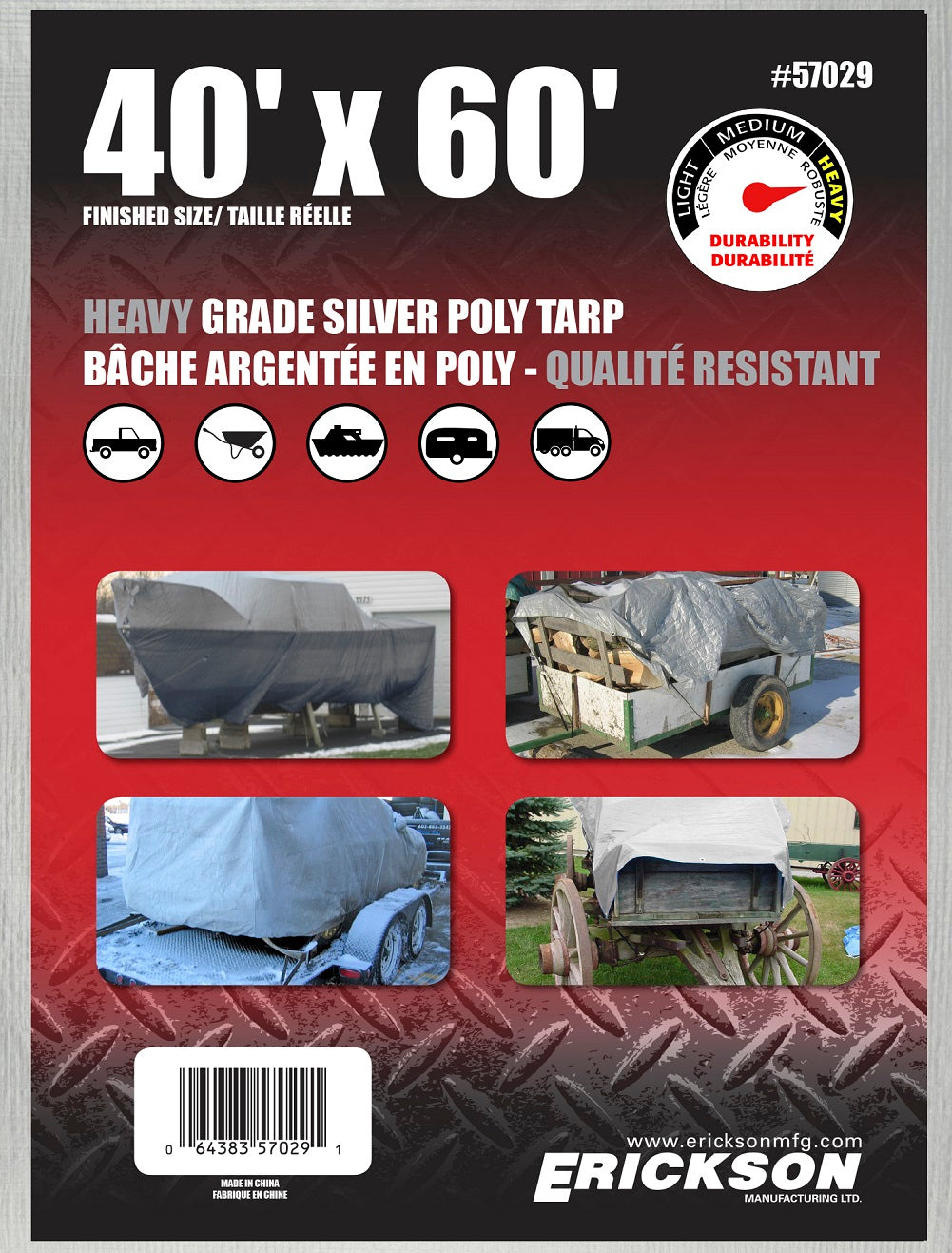 40 x 60 Heavy-Duty Poly Tarp Silver
