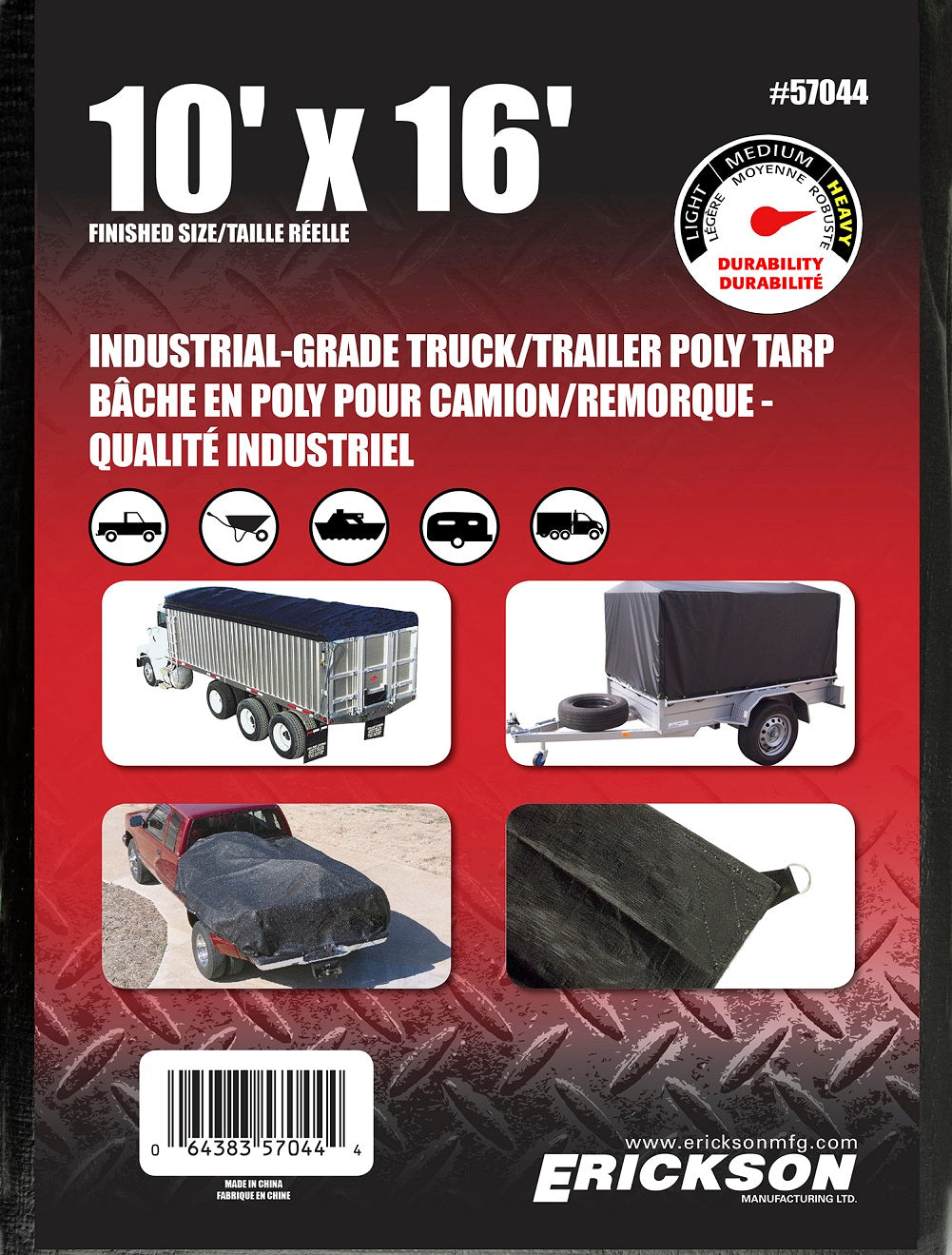 10 x 16 Industrial Grade Poly Tarp Black