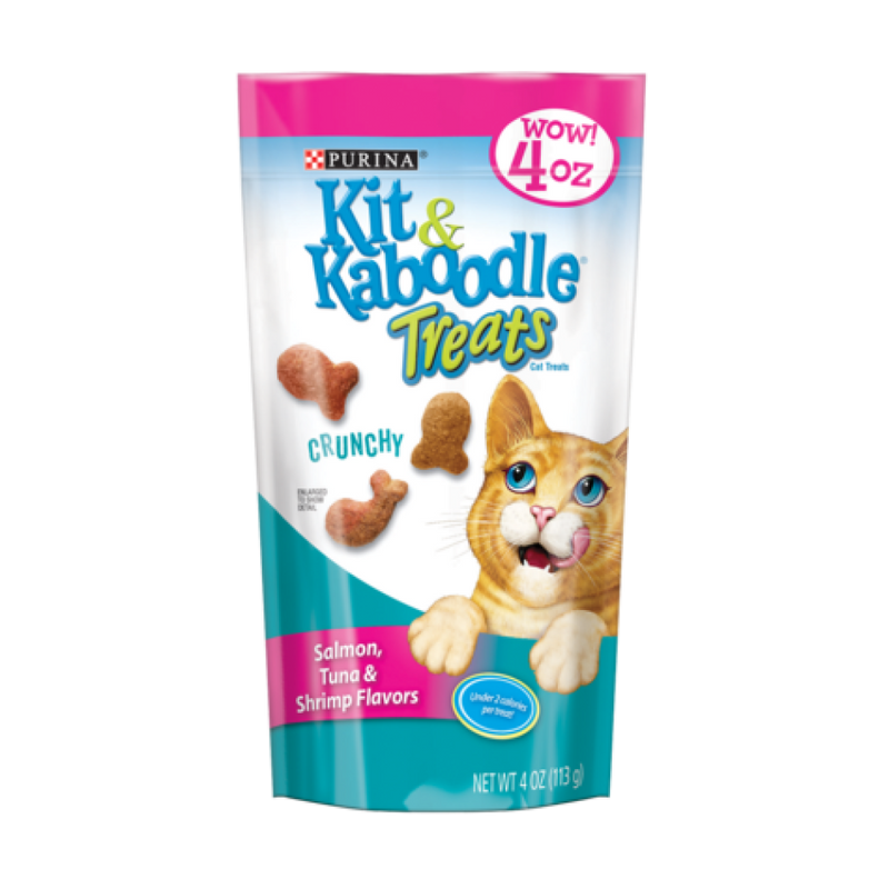 Kit & Kaboodle 4oz Crunchy Salmon, Tuna & Shrimp Cat Treat