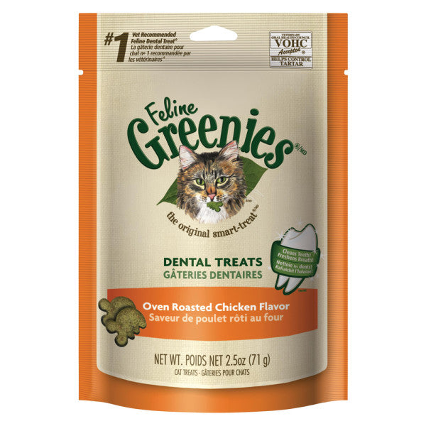 Greenies Feline Dental Oven Roasted Chicken Flavor Cat Treats 2.5-oz