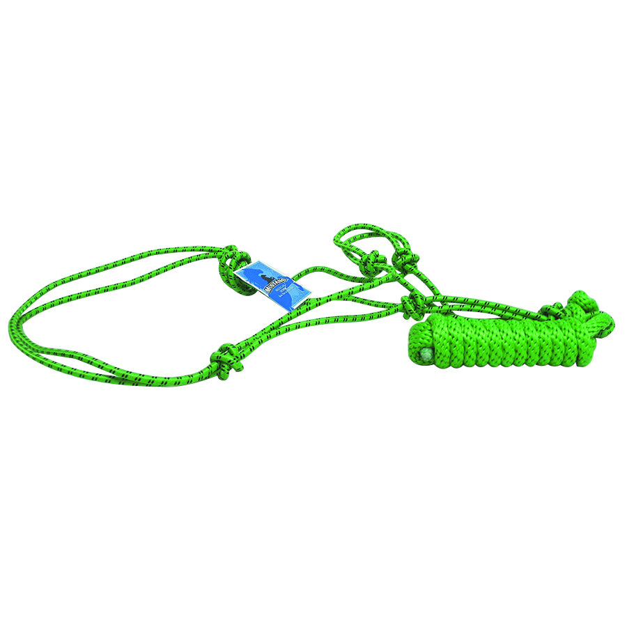 Mustang Rope Halter With 8ft Lead Rope Lime And Black