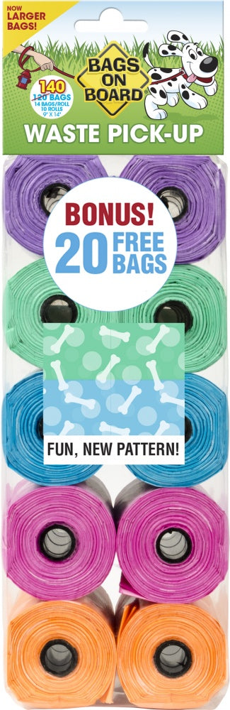 Bags on Board Fashion Print Waste Pick-Up Bags 140-ct