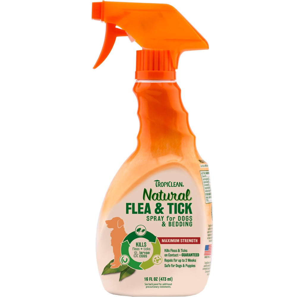 Tropiclean Natural Flea and Tick Pet Spray 16-oz