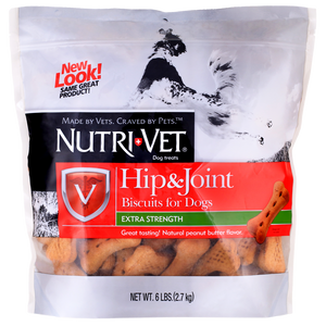 Nutri-Vet Large Dog Hip & Joint Peanut Butter Biscuit Dog Treats 6-lb