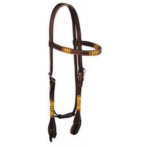 Buffalo Leather Leather Browband Headstall with Tan Rawhide and Maroon Chevron Design and Quick Change Bit Ends