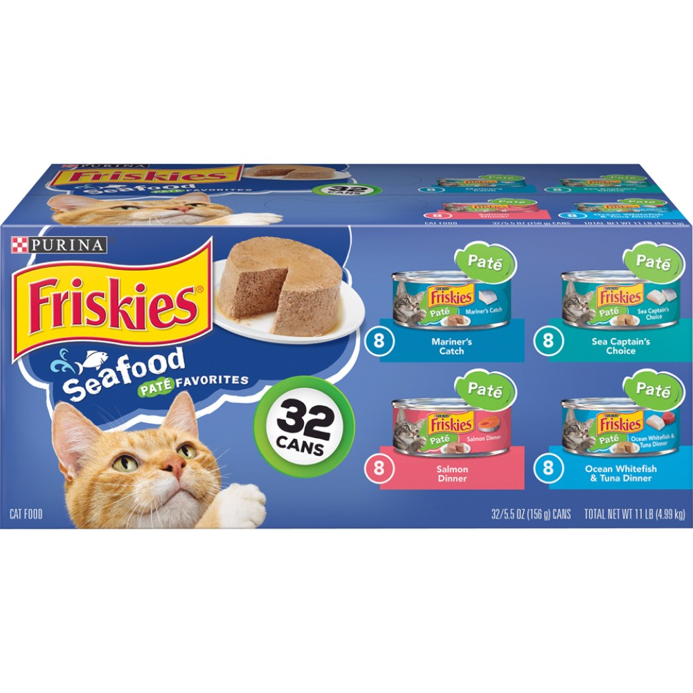 Friskies 5.5oz 32 Pack Classic Pate Seafood Variety Wet Cat Food