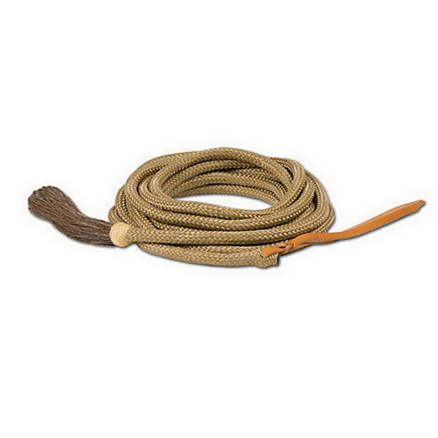 Mustang 1/2inx23ft Mountain Cord Mecate Rein with Horse Hair Tassel and Leather Popper Tan