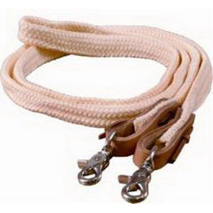 Mustang 1inx8ft Braided Poly Roping Reins with Scissor Snap Bit Ends Natural