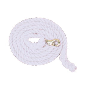 Aime Imports 10ft Cotton Lead with Bull Snap White