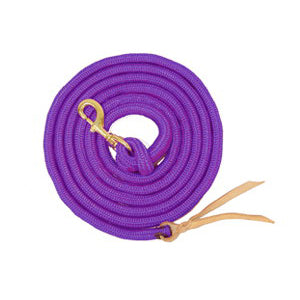 Partrade 9ft Poly Lead with Bolt Snap and Leather Popper Purple