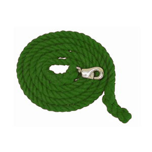 Aime Imports 10ft Cotton Lead Rope with Bull Snap Green