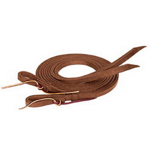 Weaver Leather ProTack 5/8inx8ft Oiled Leather Split Reins with Water Loop Bit Ends