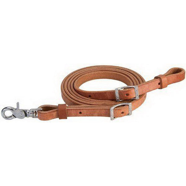 Weaver Leather 5/8inx8ft Russet Harness Leather Roping Reins with a Scissor Snap Bit End